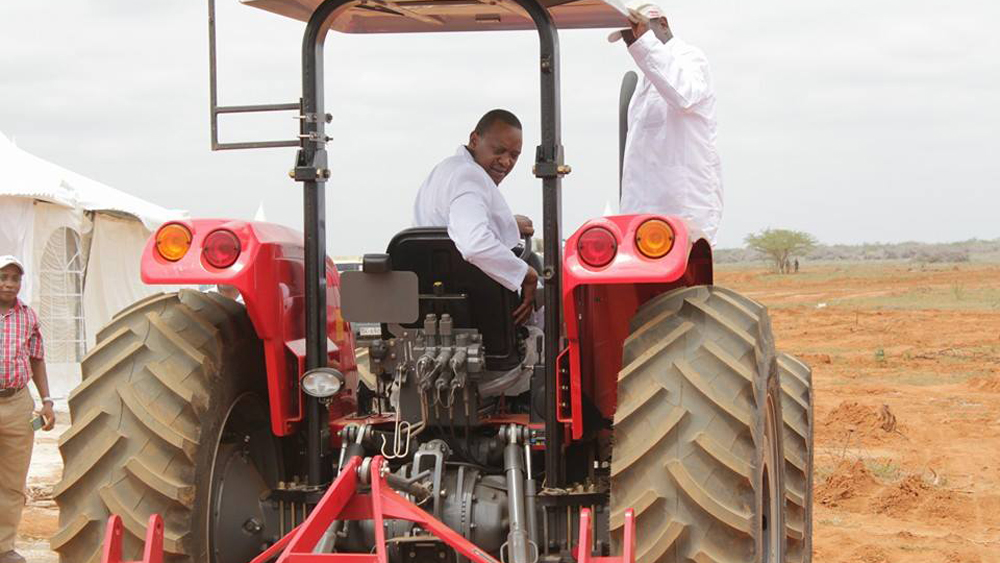 Kenya's president Uhuru Kenyatta at the innauguration of the Galana-Kulalu food project in Tana river district.