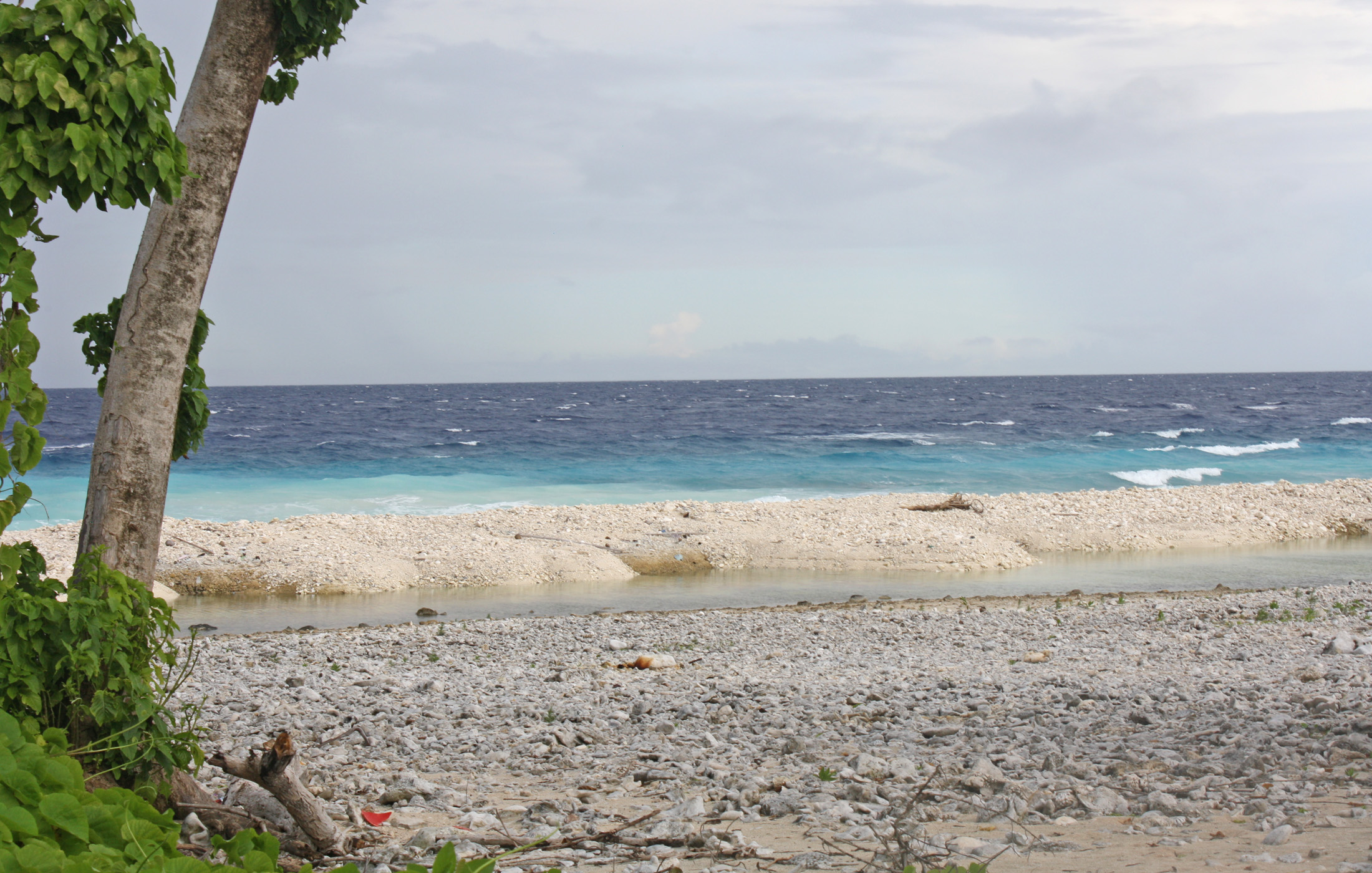 The sea encroached a portion of Angaur, one of the Palauan islands and caused some damage during the storm surge when super typhoon Bopha swept by