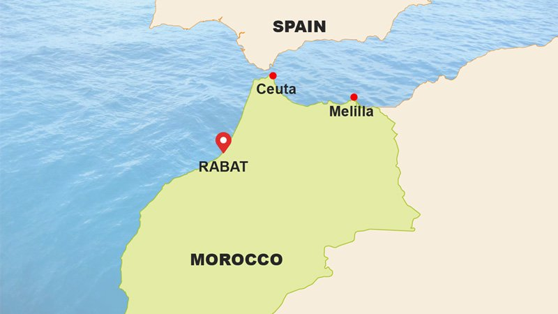 Map of Morocco showing the Spanish enclaves of Ceuta and Melilla