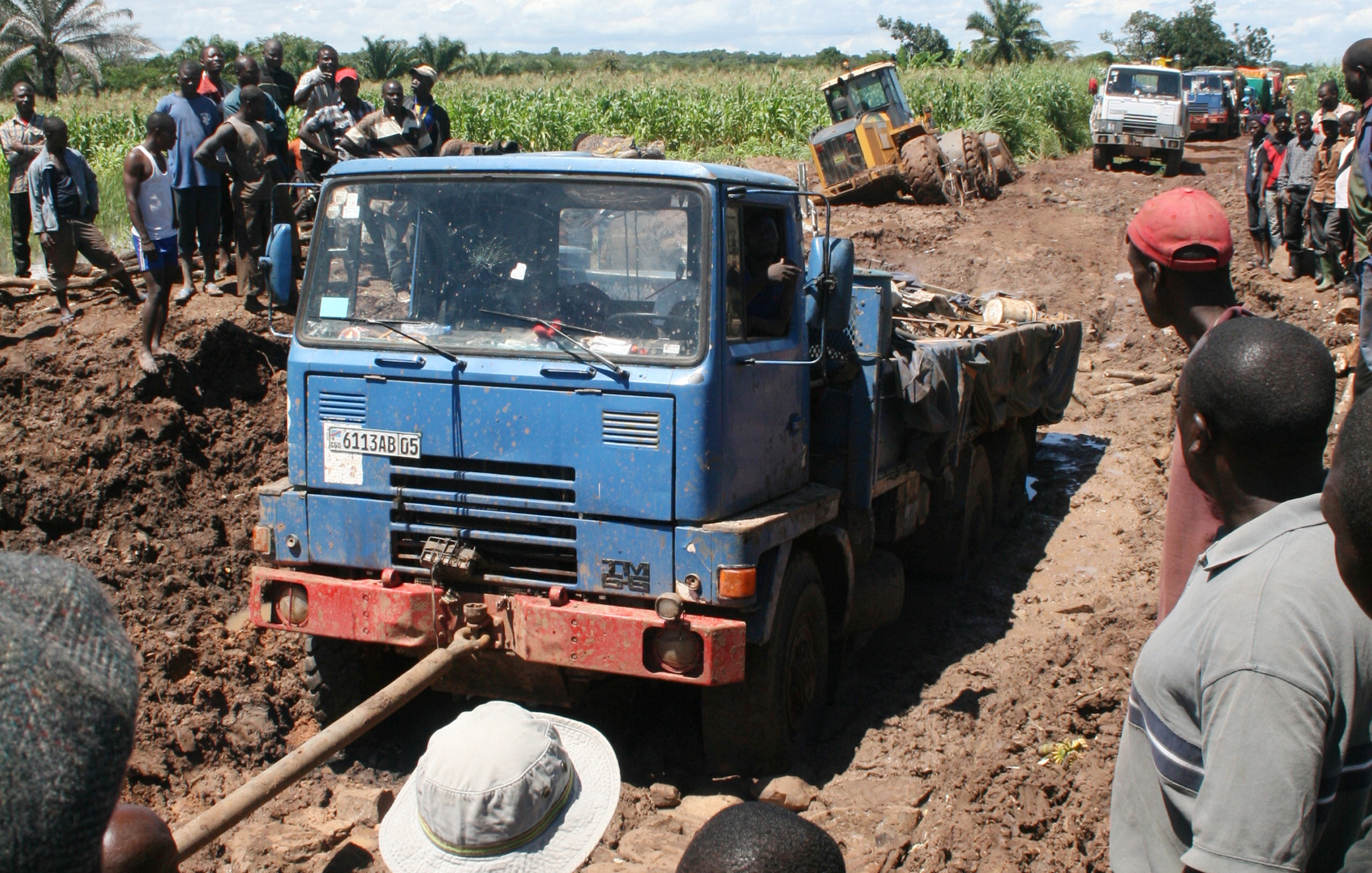 Truck stuck in the mud in DRC's Katanga province