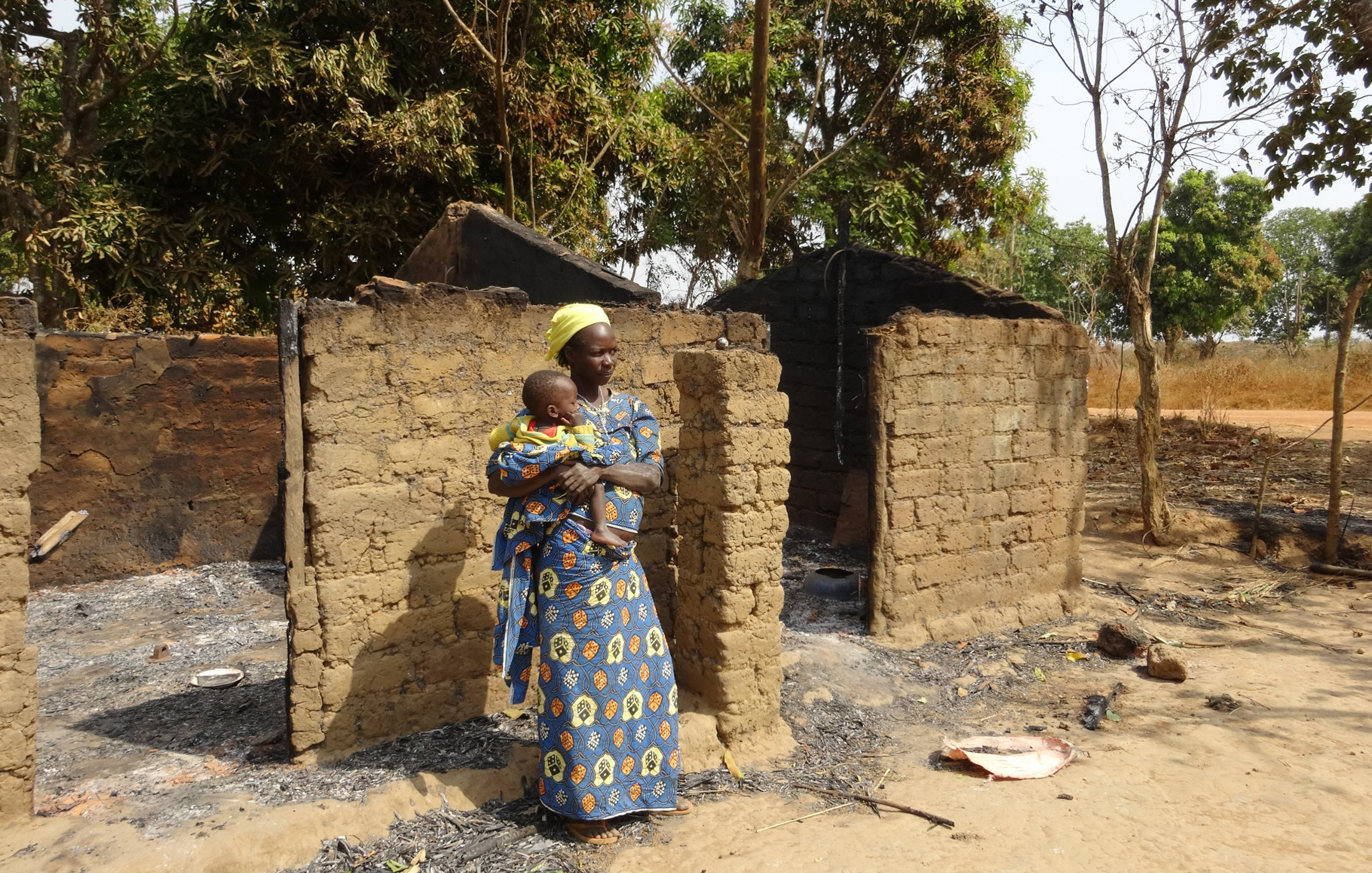 Christian woman married to a Muslim whose house was burned by anti-balaka. At village of Bessan in west CAR.