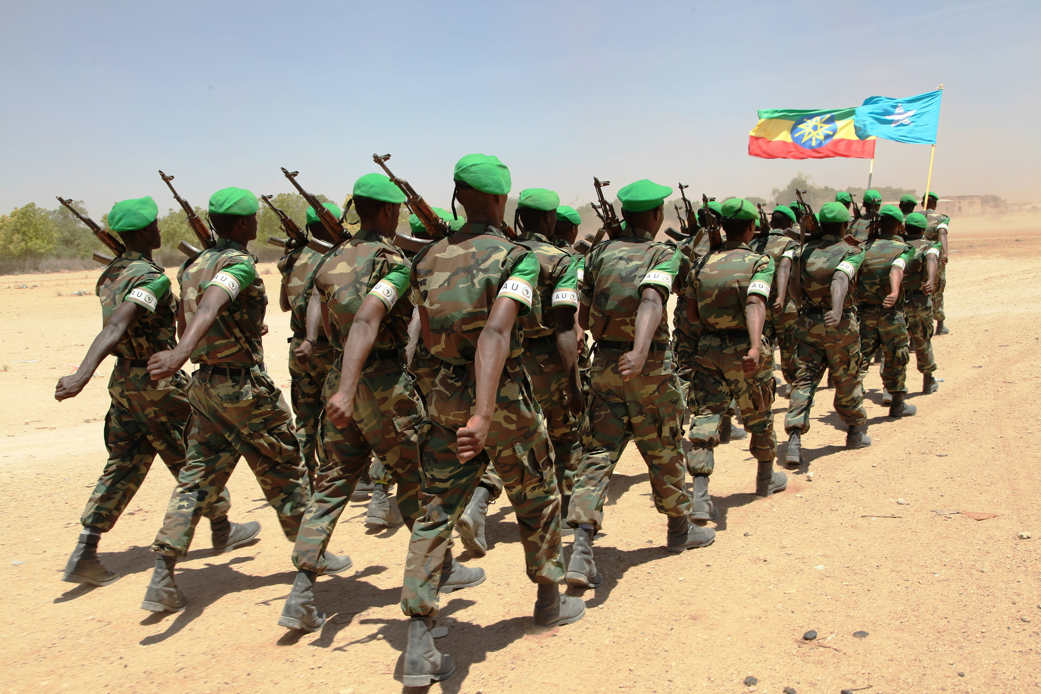 Ethiopian National Defence Forces peacekeepers marching in Hudur capital city of Bakol Somalia on March 19, 2014