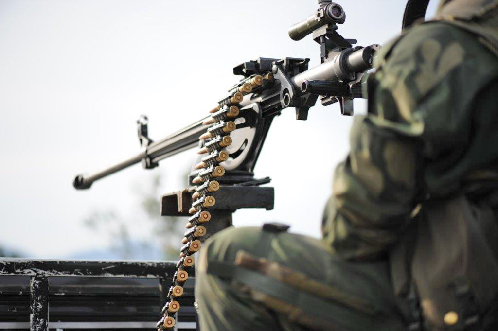 A heavy machine gun on the back of an FARDC pick-up truck in the Virunga National Park, North Kivu province