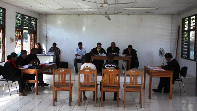 Inside a mobile court session in rural Timor-Leste. First introduced in 2008, mobile courts are currently operational in four districts - Ainaro, Manufahi, Bobonaro, and Cova Lima - with plans to scale the programme in Dili District and others pending fun