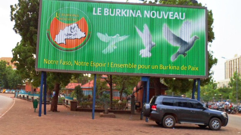 Billboard promoting peace in Ouagadougou