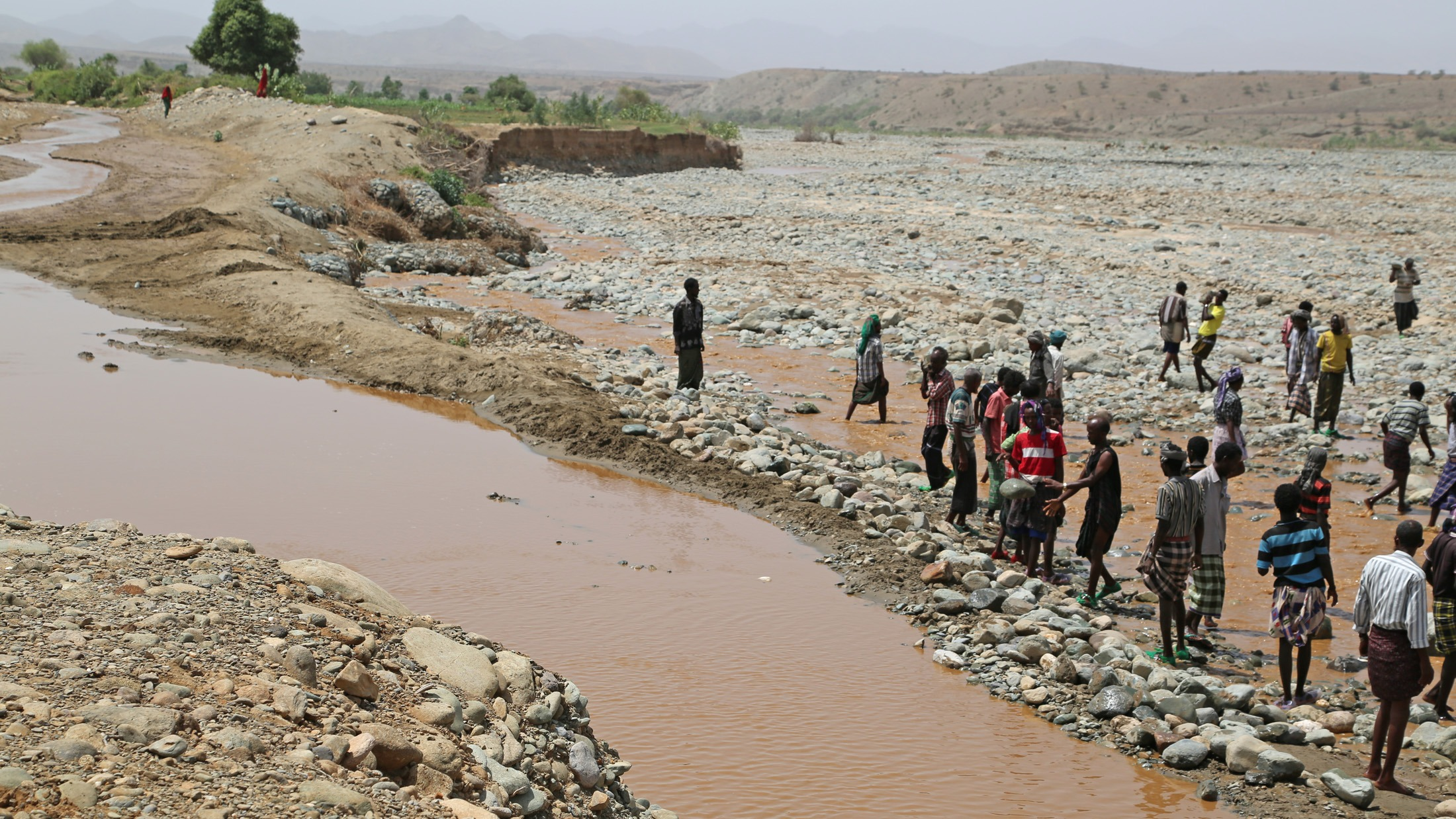 The men of Sebana-Demale in Ethiopia's Afar region try an divert the water of the river Demale towards their crops as part of their efforts under the Productive Safety Net Programme to build a community asset