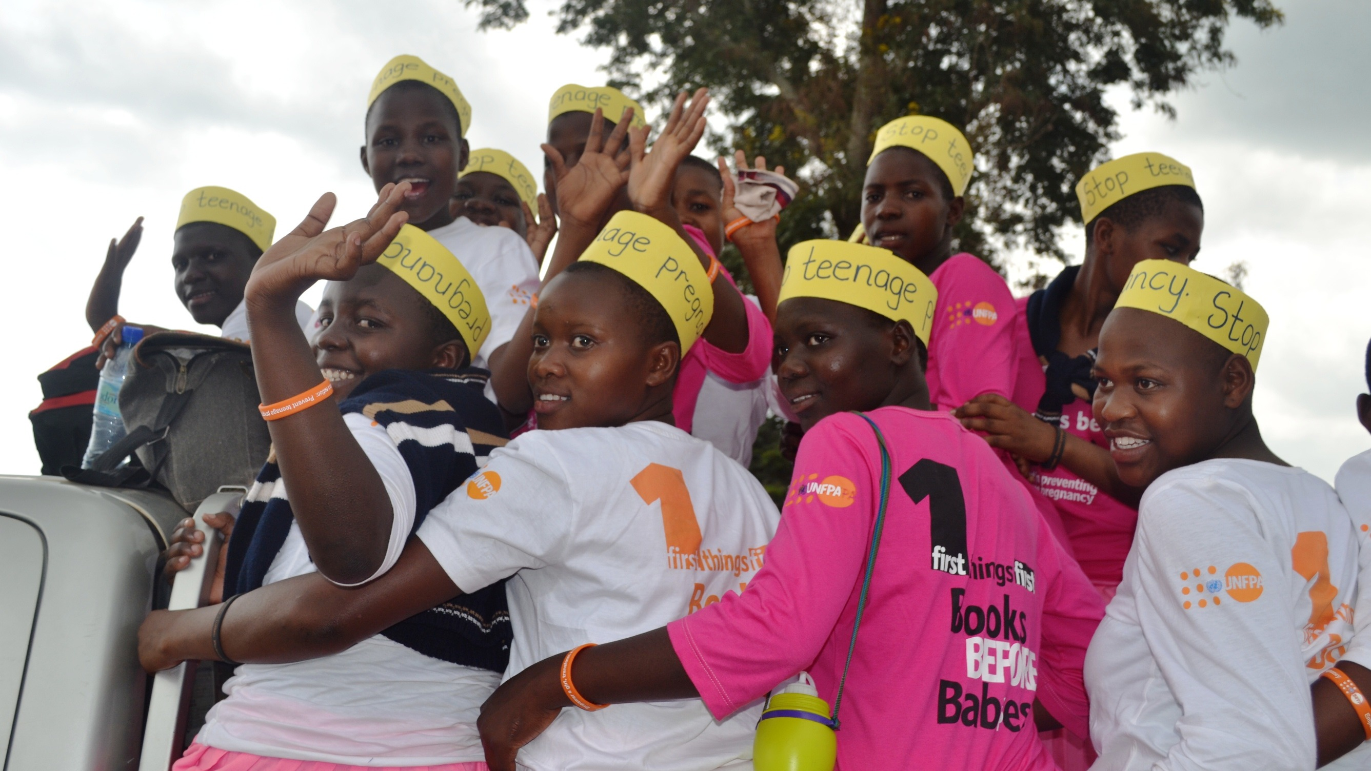 Students from Dube Primary School in Uganda at the launch of a joint UNFPA-Ugandan government year-long programme to curb teen pregnancy rates in Uganda.