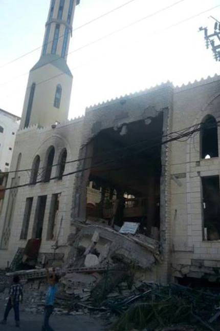 A mosque in western Gaza City destroyed by Israeli bombardment during Operation Protective Edge in the summer of 2014.