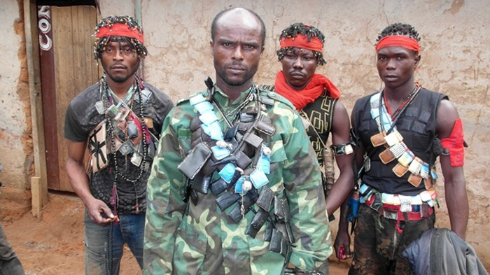 February 2014, Boali – An anti-balaka leader with his men. Boali is a town located in the Central African Republic prefecture of Ombella-M'Poko