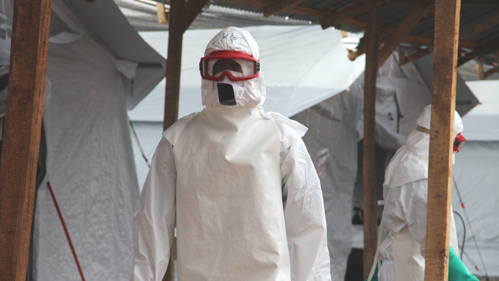 IFRC health worker in a PPE in their Ebola treatment centre outside of Kenema (October 2014)