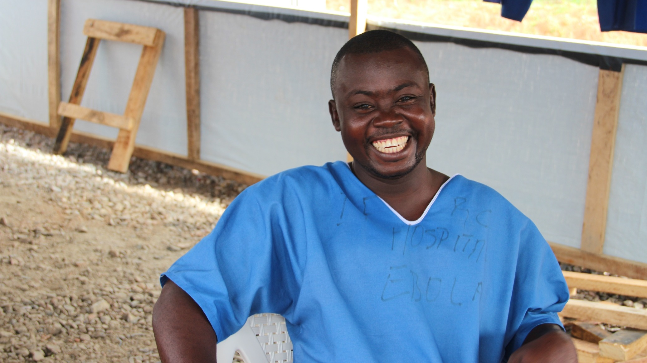 Edward Konneh, a member of the body management team at the IFRC Ebola treatment centre in Kenema.