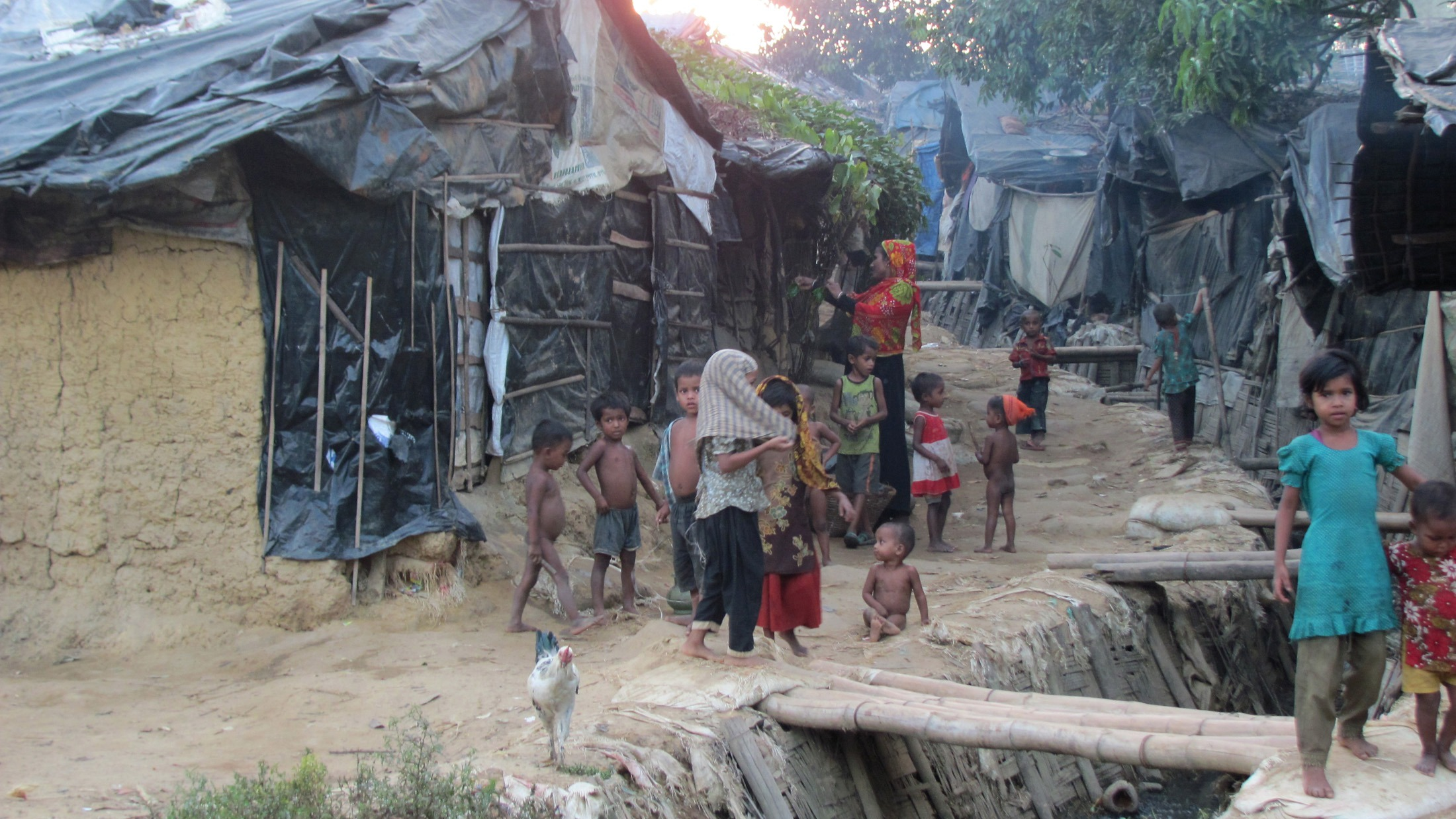 An unregistered Rohingya refugee camp in southern Bangladesh.
