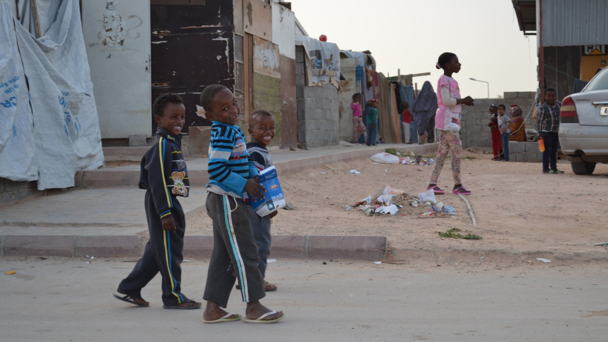 A Tawergha IDP camp on Airport Road in Tripoli, Libya.