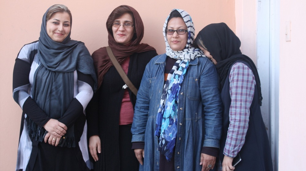 Members of NRC's female shelter team in Afghanistan  L-R Shamim, Homaira, Basira, Shaharzad
