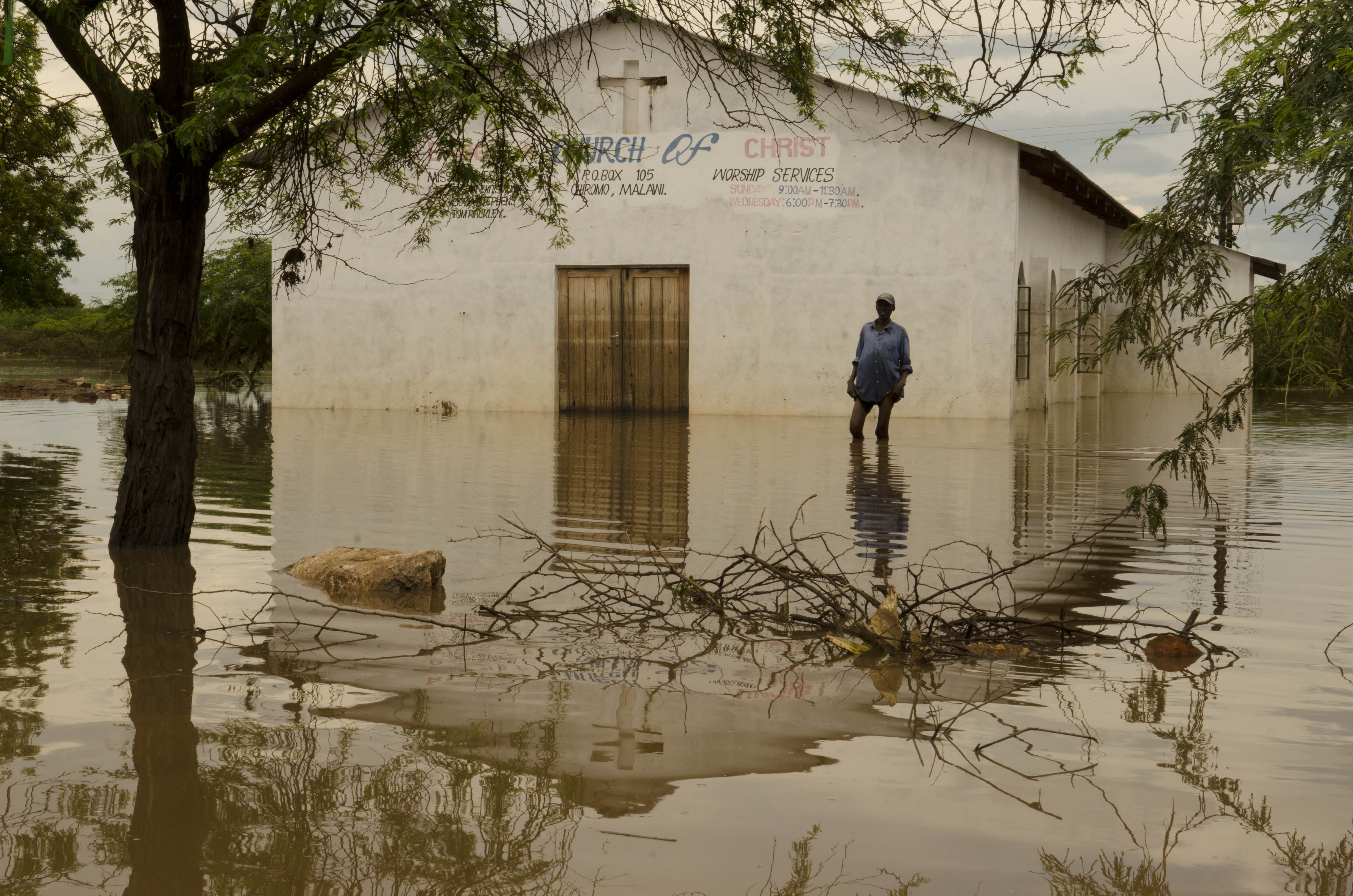 A flooded church in Bangula, Nsanje District, Southern Malawi