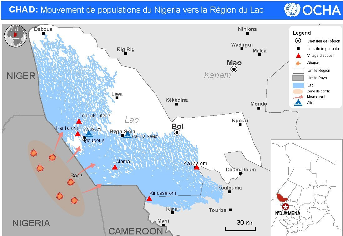 A map of the islands that Nigerians have fled to as they seek to escape Boko Haram