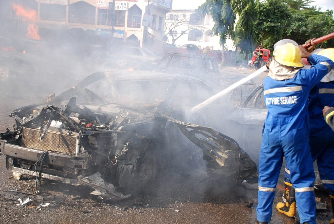 At least 21 people were killed in the bombing of the Emab plaza shopping centre, Abuja, in June 2013