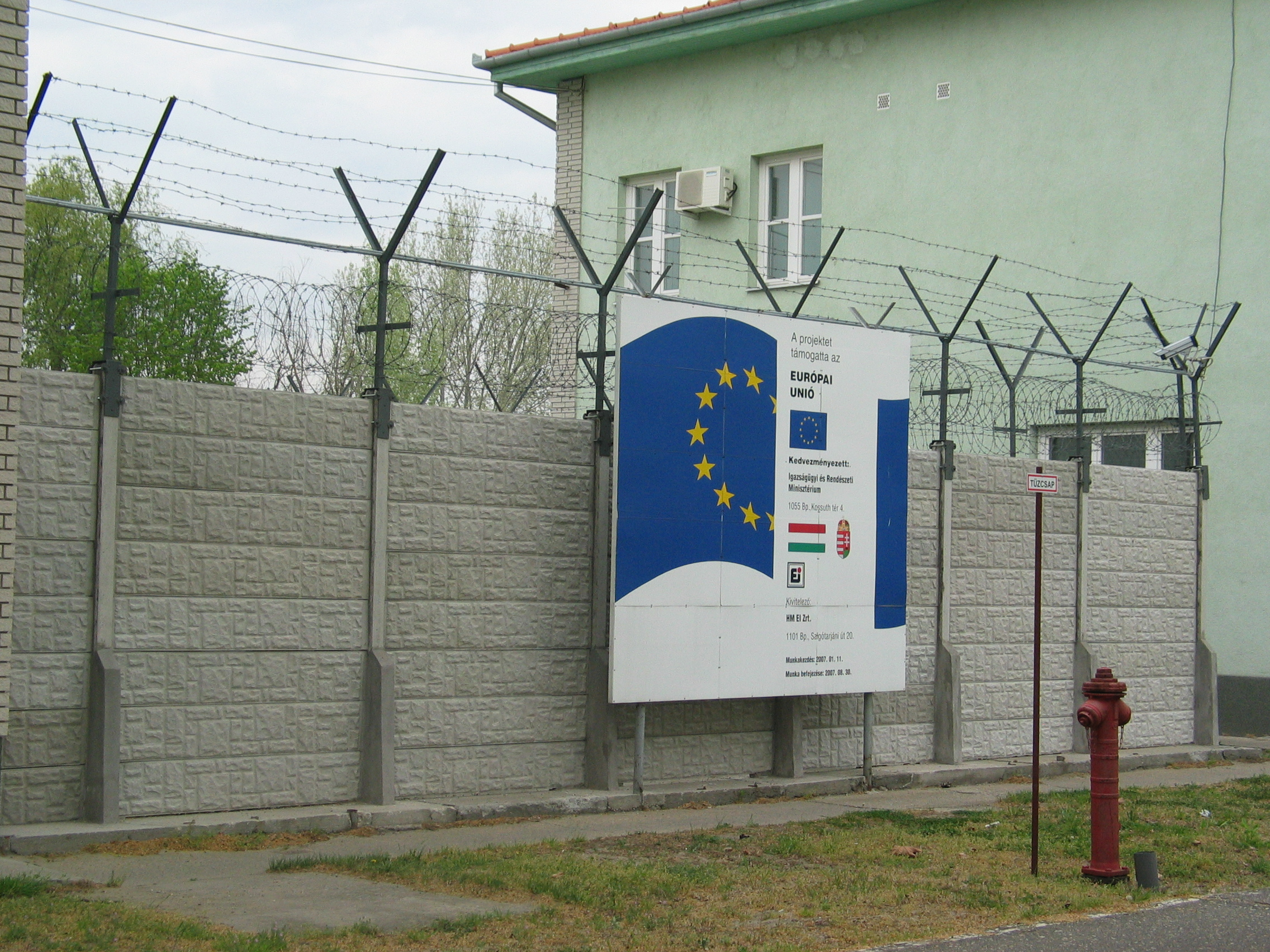 A detention facility for irregular migrants in Hungary