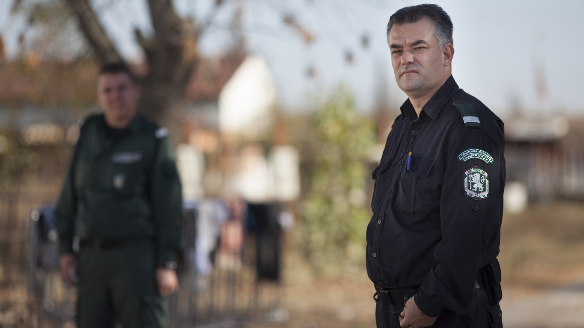 A Bulgarian border police officer at the Elhovo Border Police Station, where migrants are held and processed before being sent on to either detention centres or centres for asylum seekers.