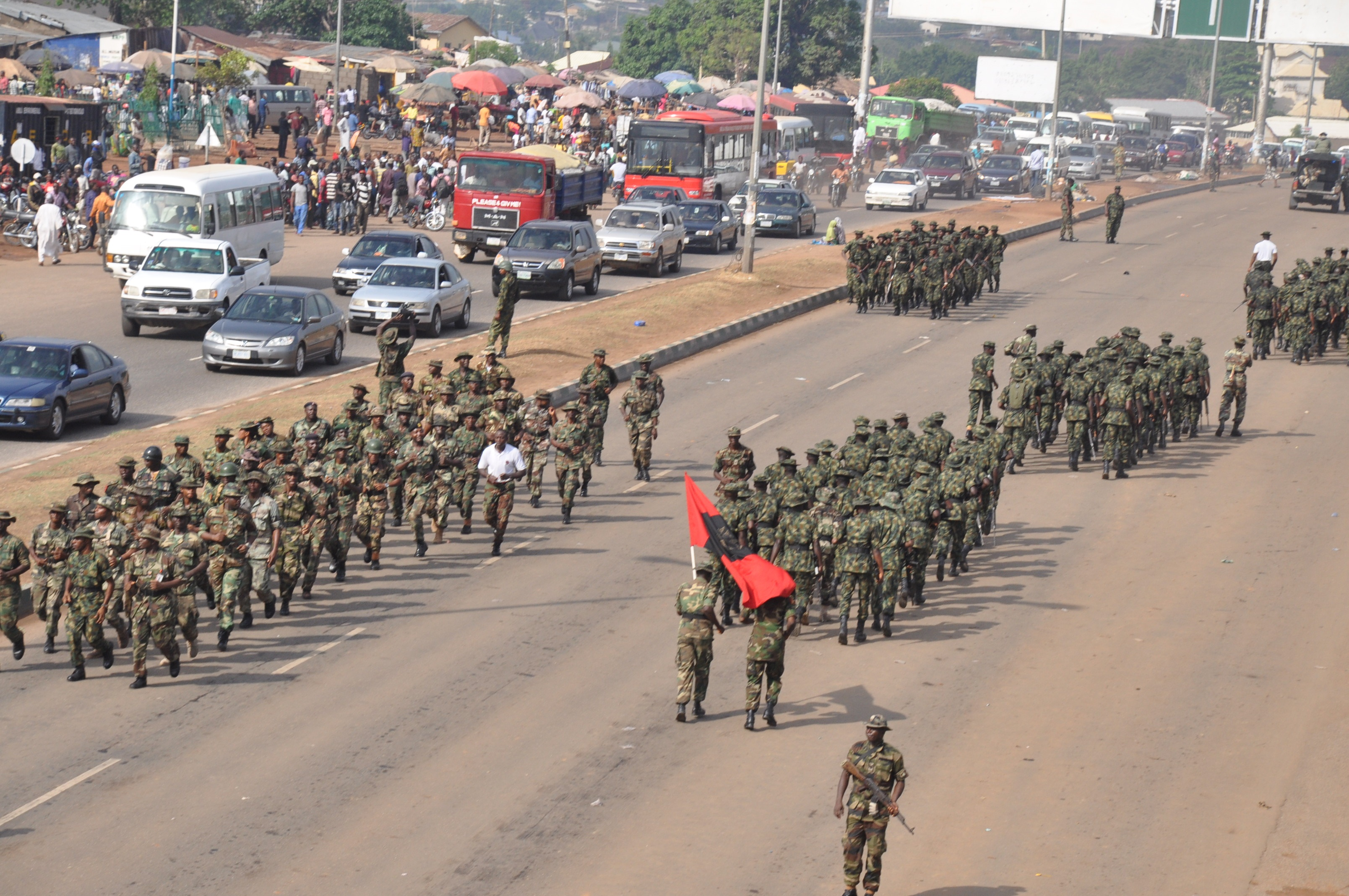Nigeria armed forces performing show of force in Nyanya Abuja 26 March 2015