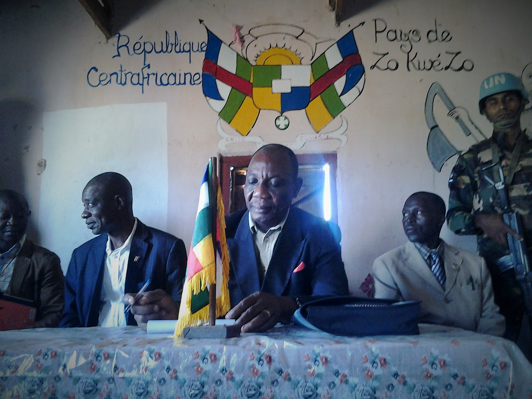 Minister of Communications Victor Wake leads consultations in the town of Baoro in April 2015 as part of reconciliation efforts in the Central African Republic