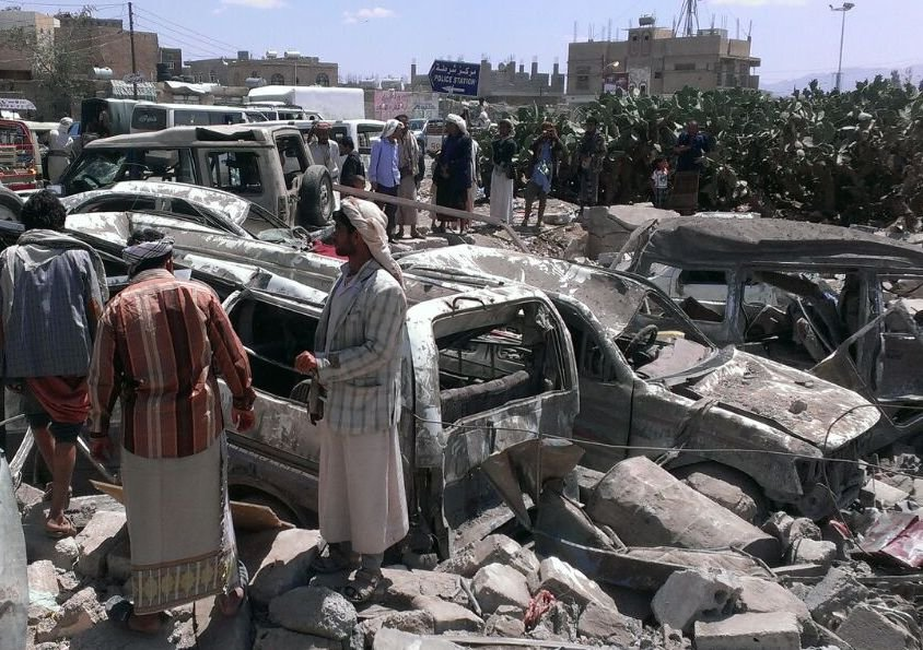 The aftermath of a bombing by the Saudi-led coalition in Yemen