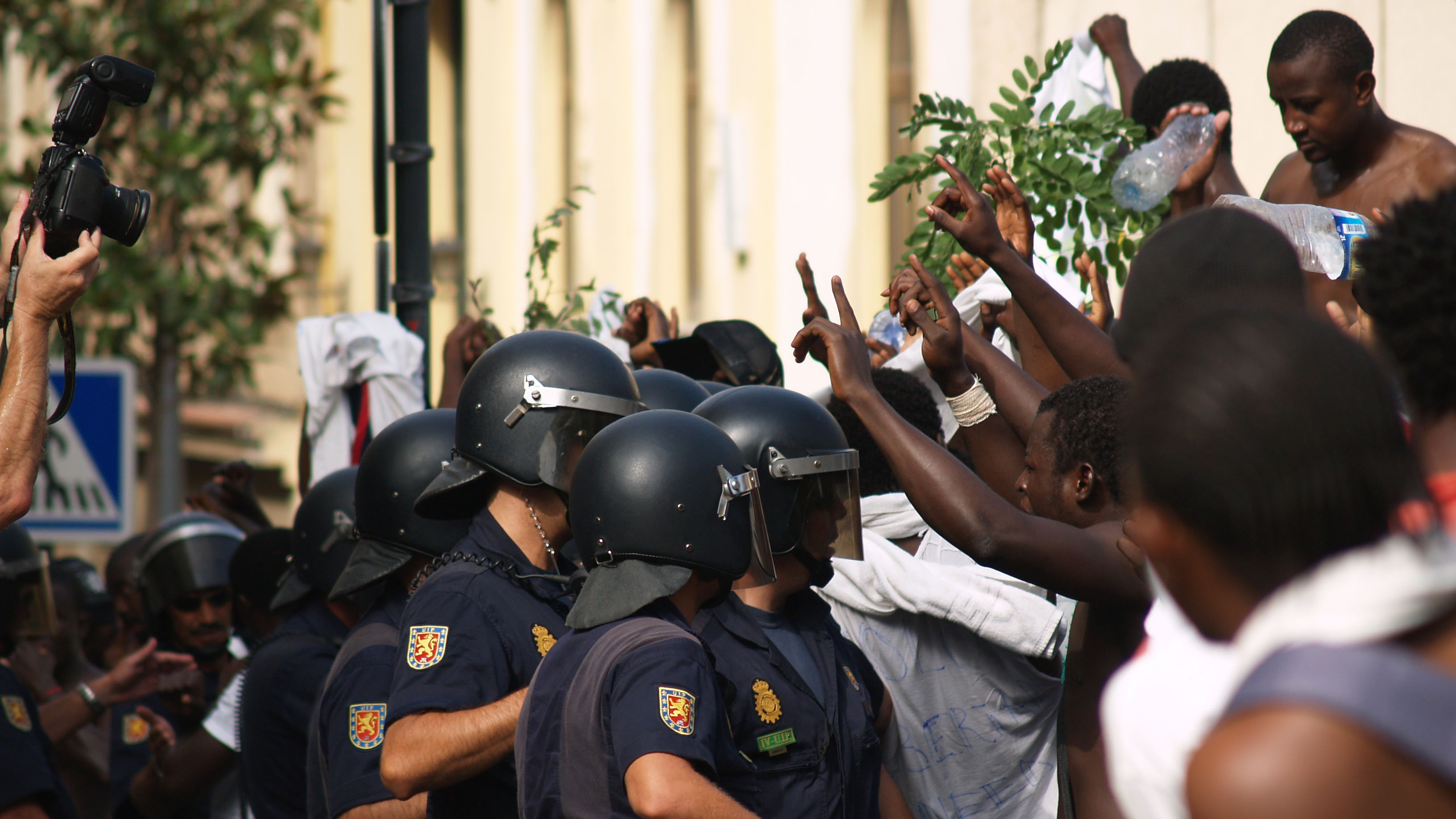 Migrants protesting in the Spanish enclave of Ceuta in North Africa, in 2010. Ceuta and its sister enclave Melilla are Europe's two existing  'offshore solutions' for irregular migrants and asylum seekers on African soil.