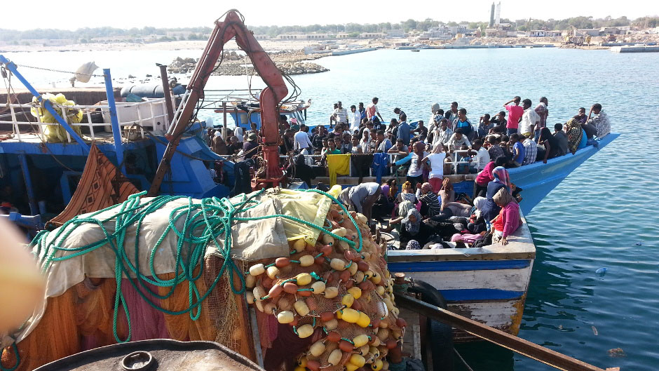 A migrant boat captured by Tripoli's Maritime Force in Libya