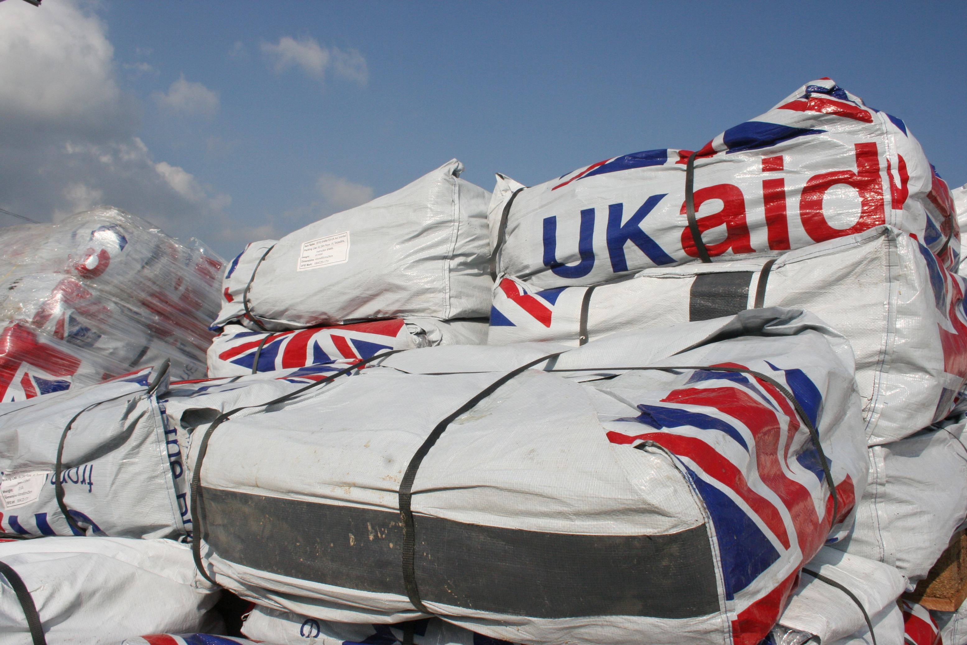 UKAid at the Humanitarian Forwarding Area in Kathmandu airport following a 7.8-magnitude earthquake that hit Nepal on 25 April 2015.