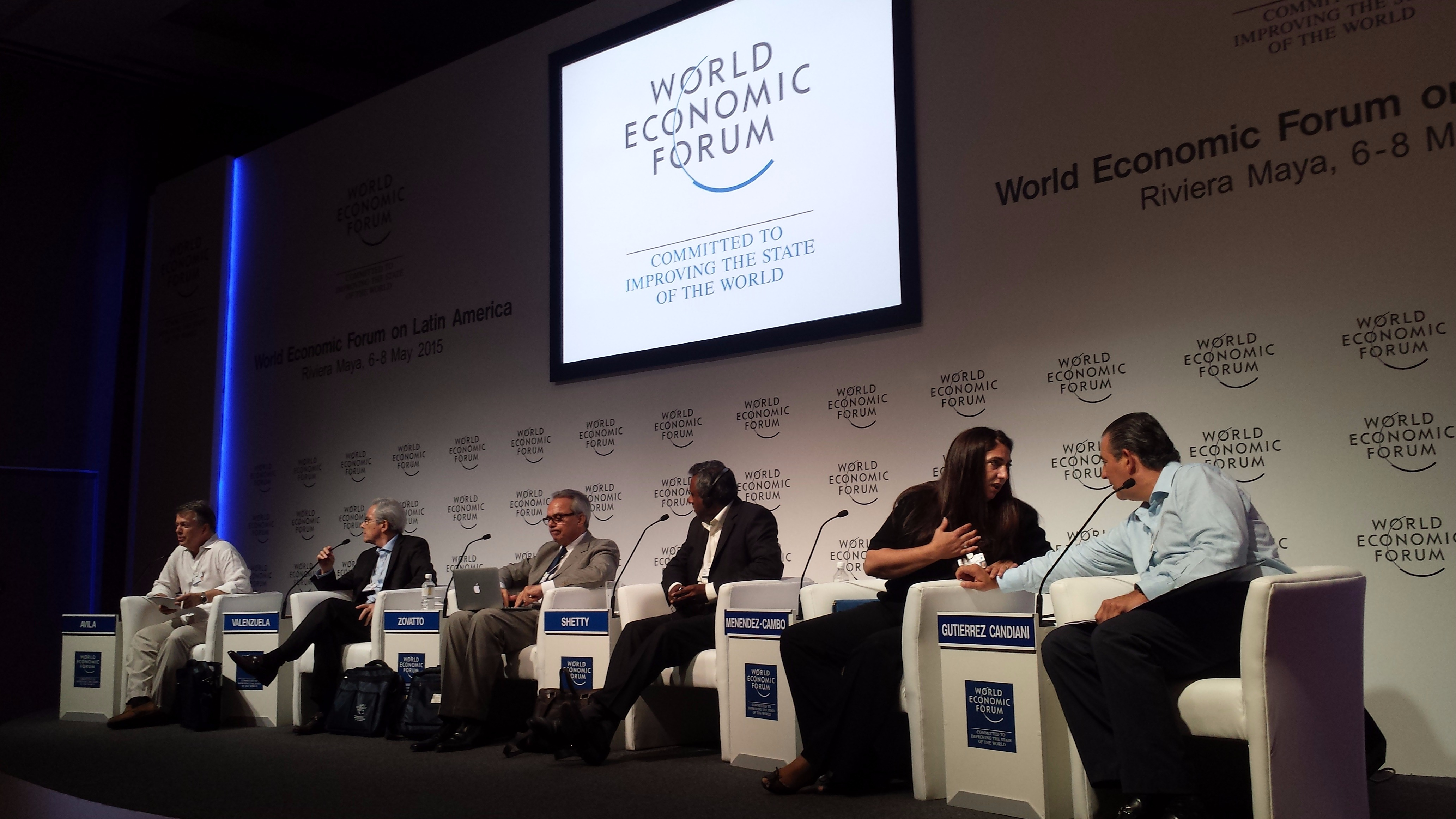 Participants in a 2015 World Economic Forum session on The Rise of Institutions. Shown here are Leonel Fernandez, FUNGLODE (moderator), Gerardo Gutierrez Candiani, President, Business Coordinating Council (CCE) Mexico, Arturo Valenzuela, Covington & Burli
