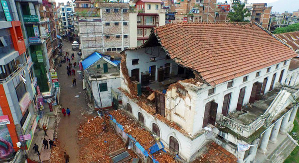 Drone imagery of aftermath of Nepal earthquake April 2015. Damaged home in Kathmandu