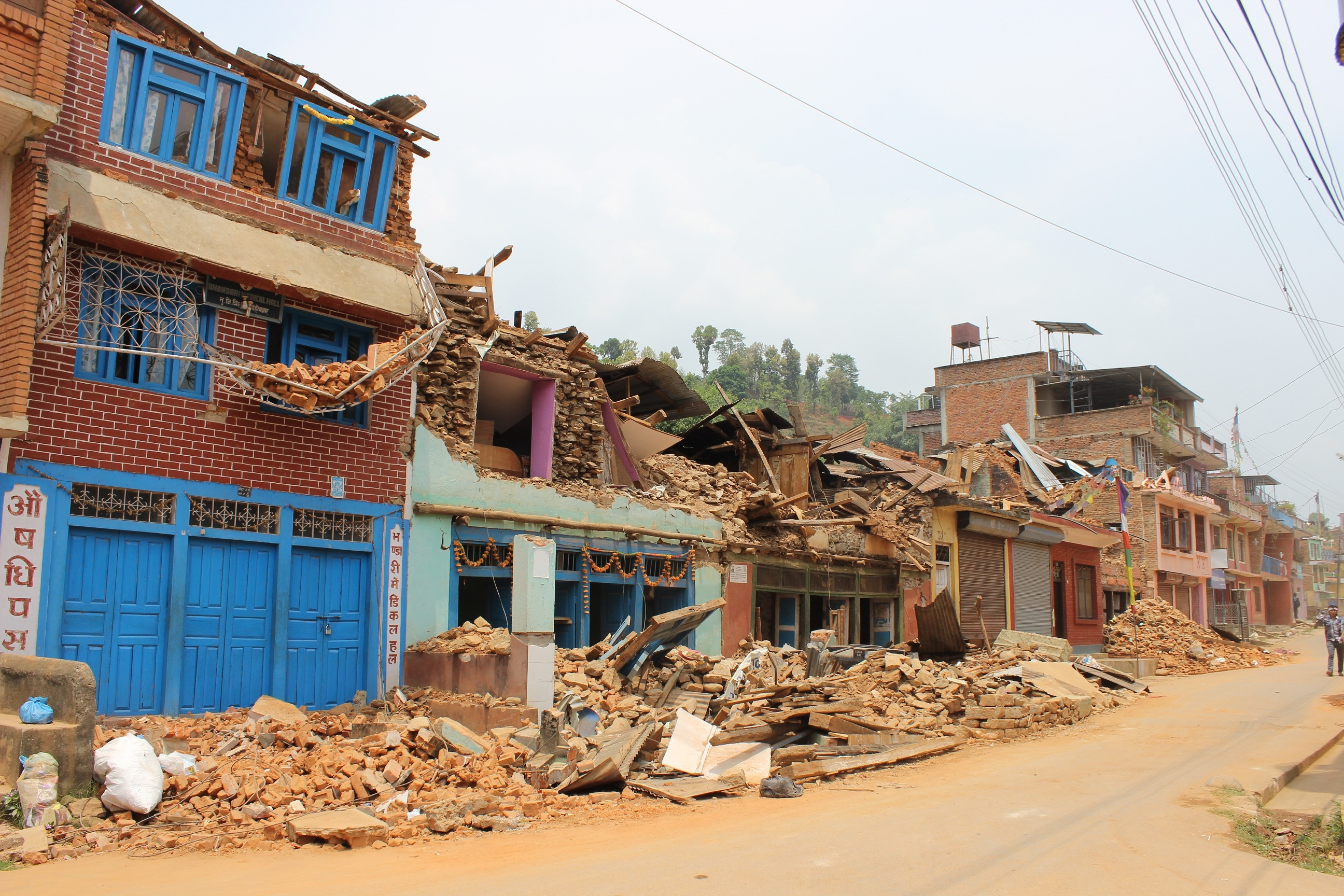 Quake damaged administrative offices in Rasuwa