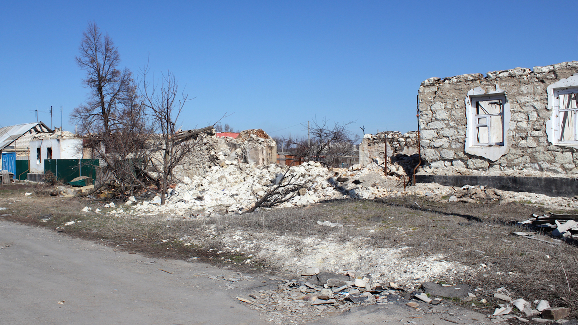 The town of Novosvitlivka was badly destroyed by shelling in 2014 when it was on the frontline of the war in Ukraine. Aid is struggling to reach civilians in parts of the rebel-held east, where a humanitarian crisis has unfolded on Europe's doorstep.