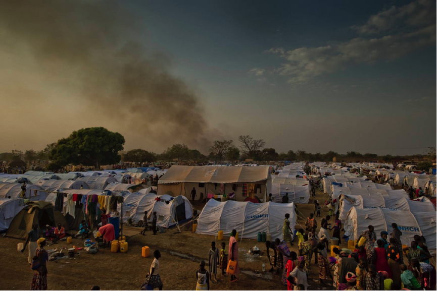 A transit centre for South Sudanese refugees in northern Uganda.