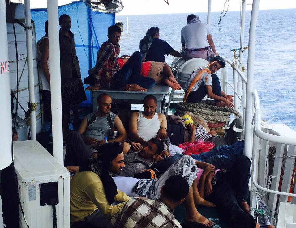 Refugees fleeing from Yemen to Djibouti by boat during a five-day humanitarian pause in the war in May 2015