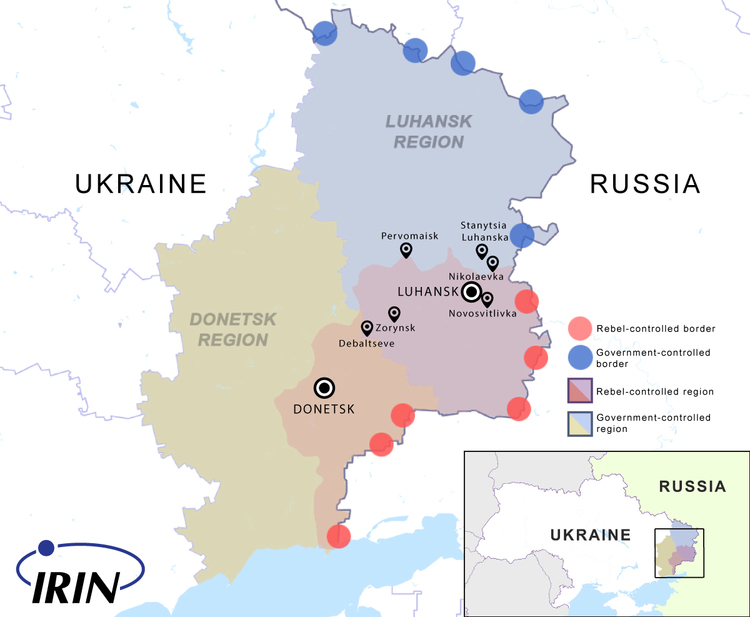 Map of Ukraine showing the frontline between the rebel-held east and the rest of the country, as of April 2015.