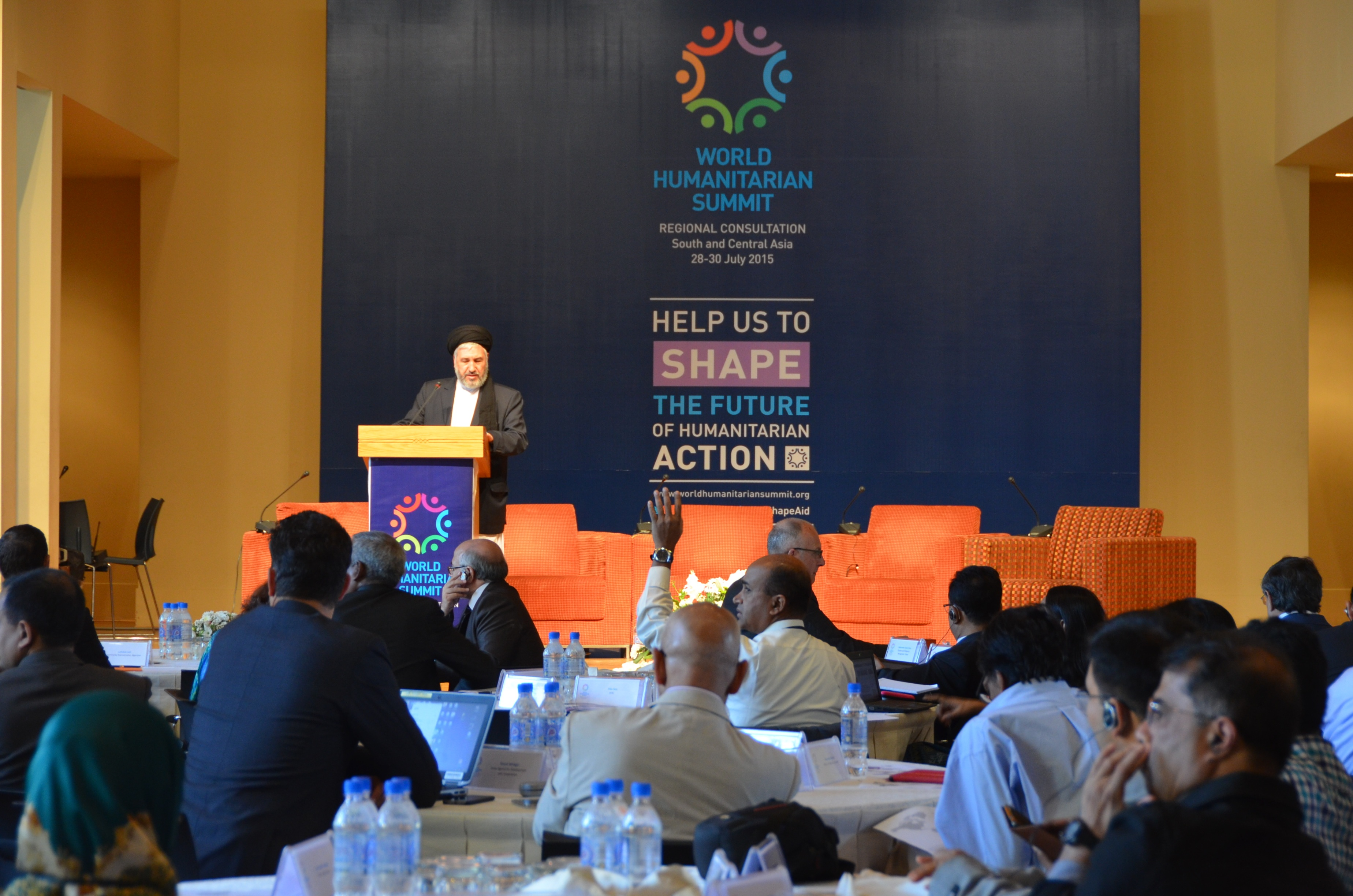 The Afghan minister for refugees and repatration, Sayed Hossein Alimi Balkh, addresses participants at the World Humanitarian Summit regional consultation for South and Central Asia in the Tajik capital Dushanbe in July 2015.