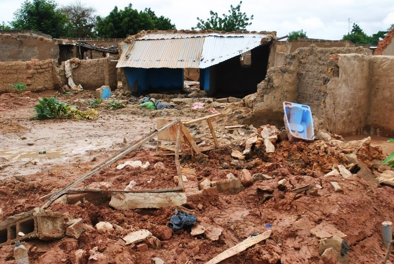 houses destroyed at Bissighin, a suburb in the north of Ouagadougou. Bissighin is a risky zone becas=use of the precarity of constructions and lack of sewerages. Latrines have collapsed in the area