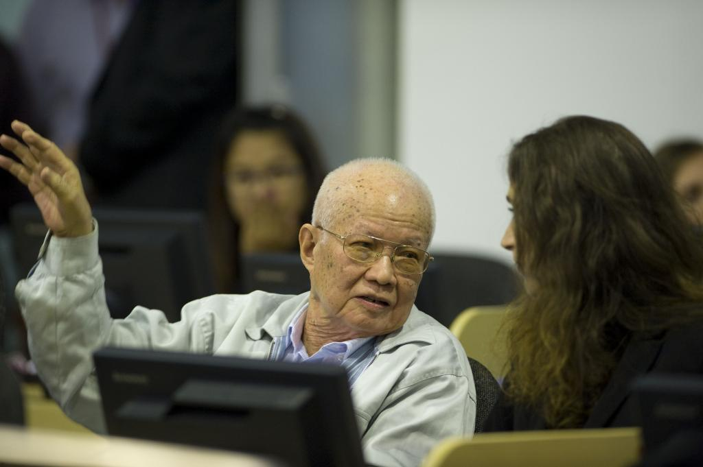 Former Khmer Rouge head of state Khieu Samphan at the war crimes tribunal in Cambodia in early 2015