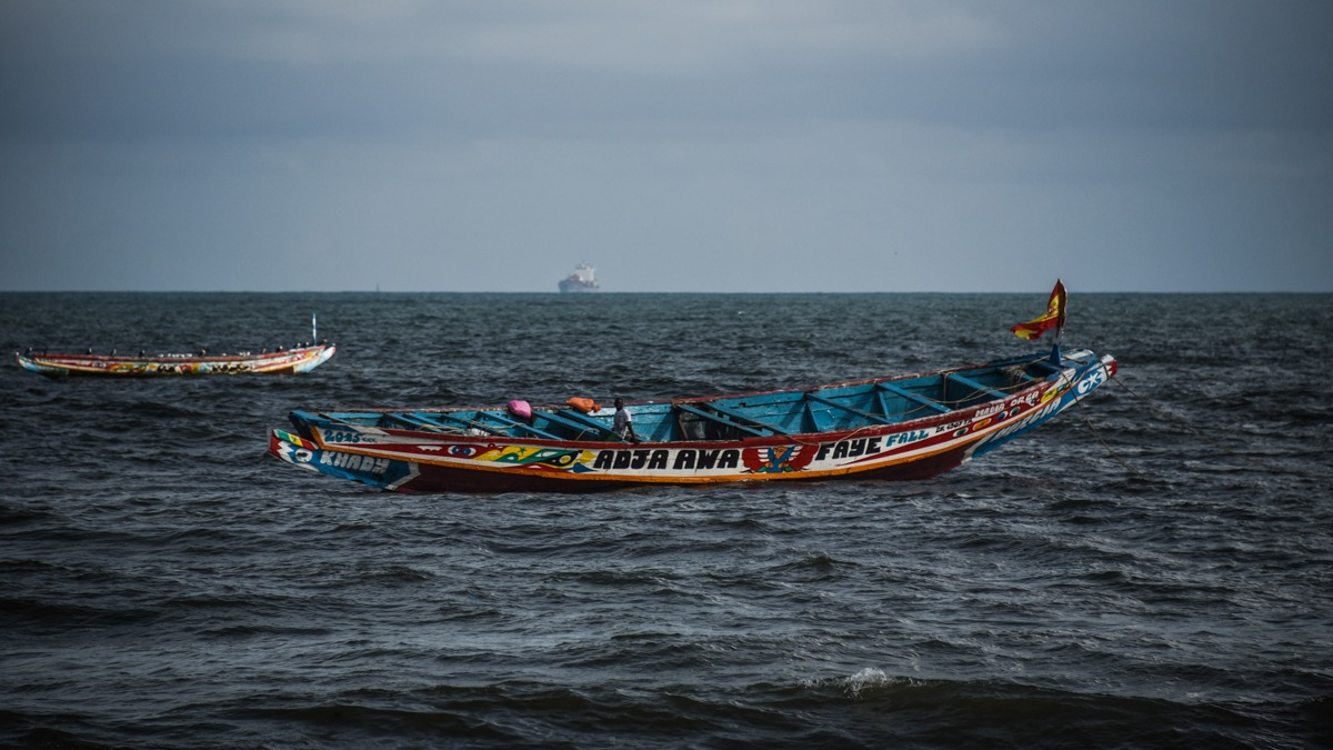 Thiaroye, Senegal (August, 2015) - Fishermen in their boats off the coast of Thiaroye, Senegal.