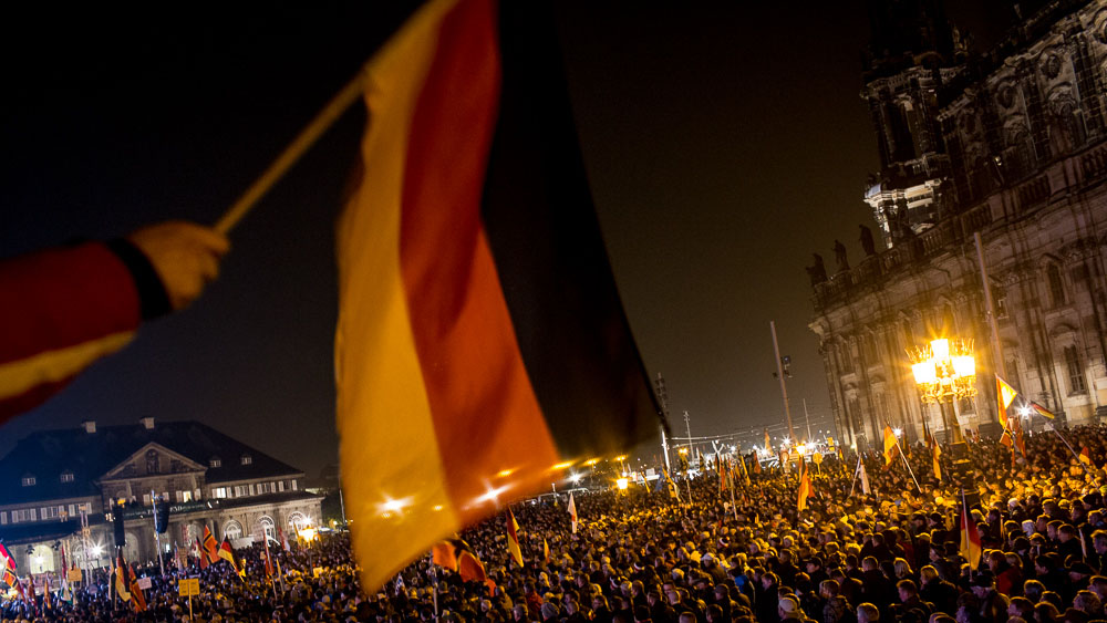 PEGIDA, an anti-Islam, anti-migrant movement, held its one-year anniversary at a rally in Dresden, Germany, on 19 October that was attended by at least 10,000 supporters