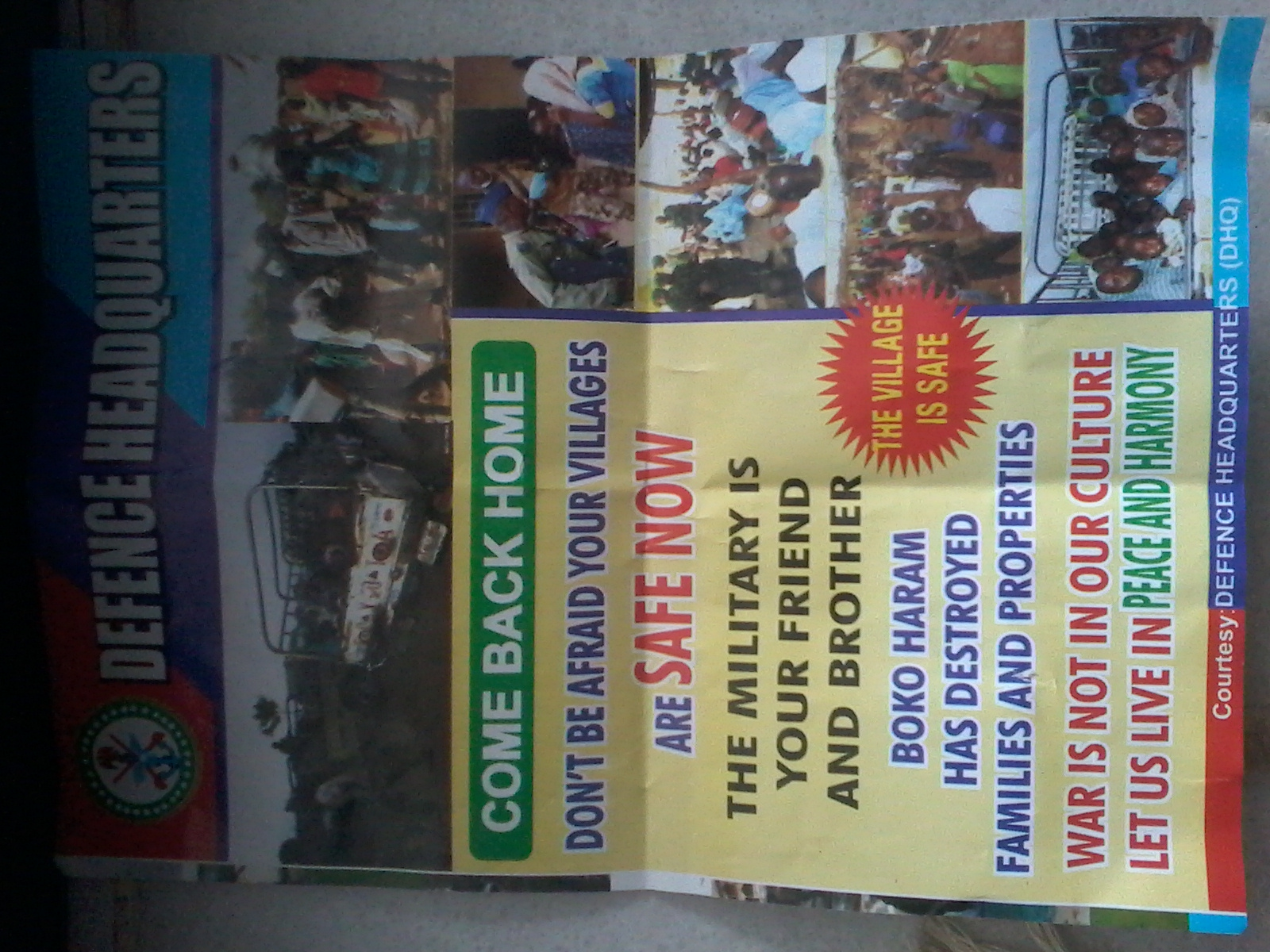 A leaflet the Nigerian government has been distributing in Adamawa State, urging IDPs to return home.