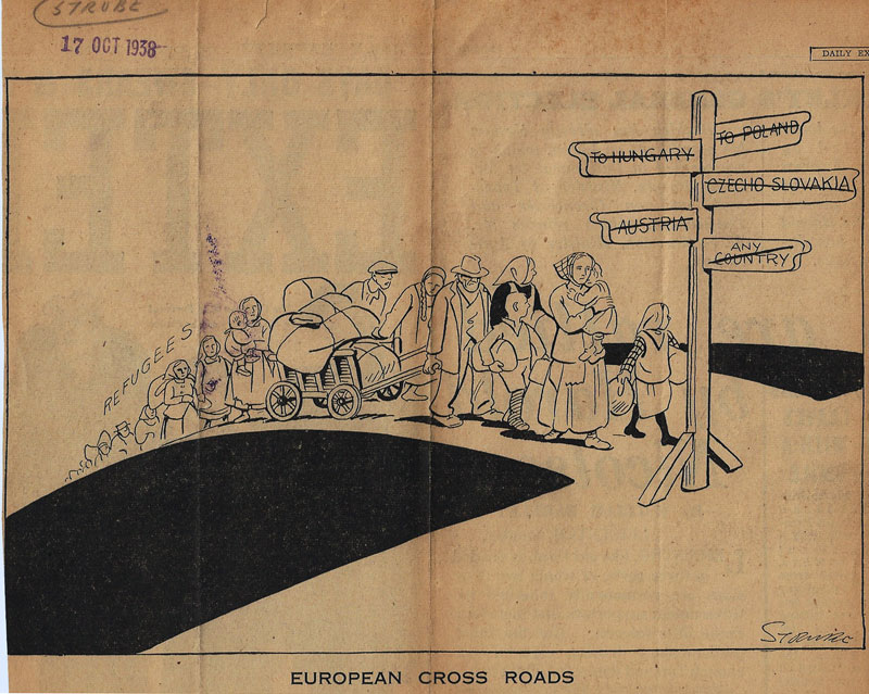 Cartoon published in 1938 by the Daily Express newspaper in Britain showing refugees from Nazi occupied territories and the unwillingess of any countries to take them.