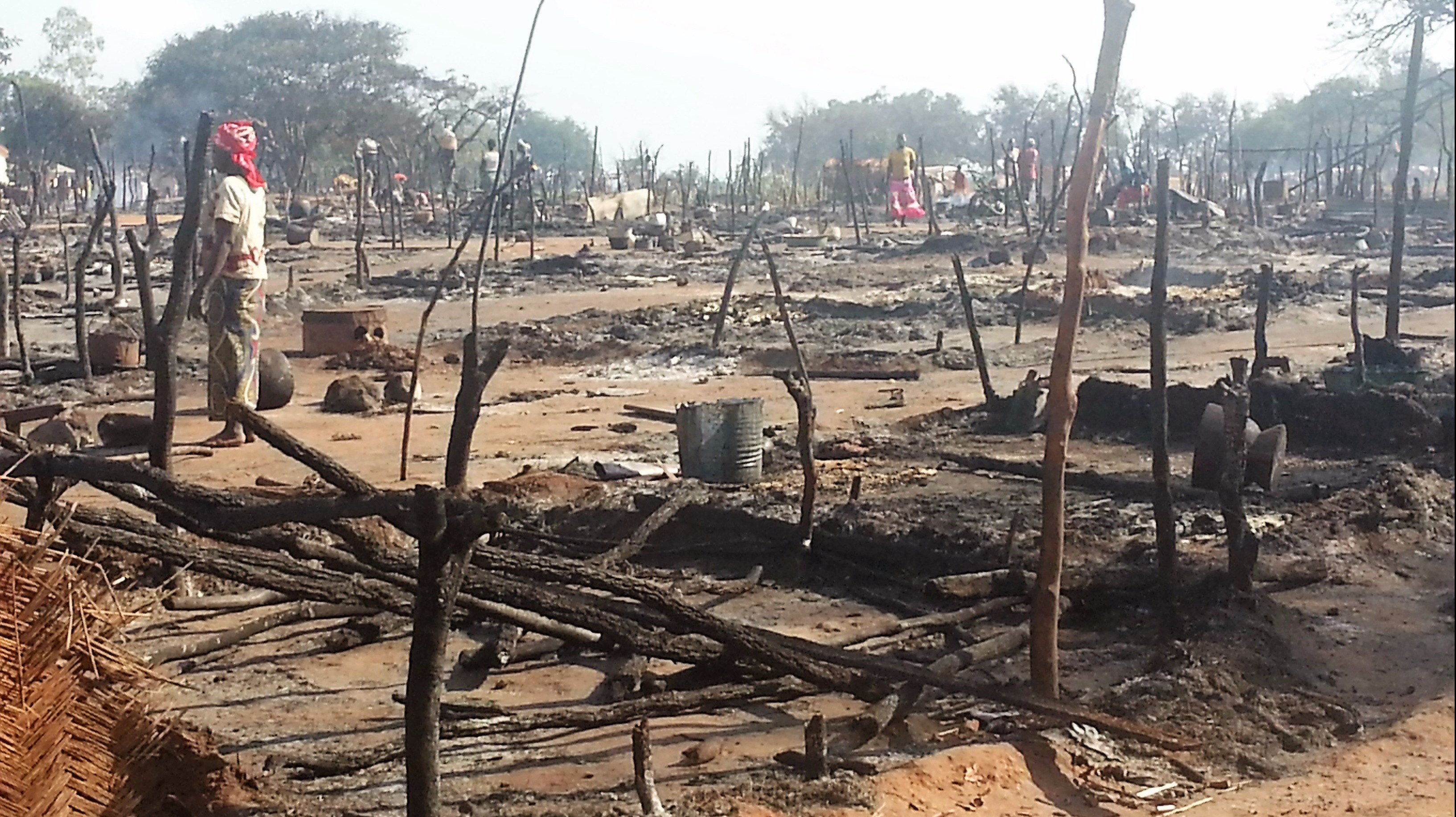 The site of a camp for internally displaced people in Batangafo, Central African Republic, the day after it was burned to the ground on 10 November 2015