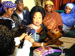 [Nigeria] Stella Obasanjo, First Lady of Nigeria, speaking to journalists at the west african workshop on AIDS orphans and vulnerable children held in Cote d'Ivoire in April 2002.