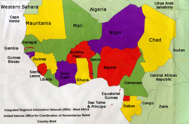 Country Map   West Africa, covers over 20 sub Saharan countries