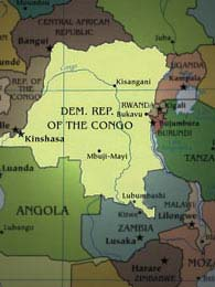 Country Map - DRC and its neighbours.