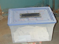 Ballot box during elections in Brazzaville, Republic of Congo (taken June 2002)