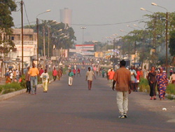 No cars allowed on roads of Brazzaville, Republic of Congo during elections, to discourage people from trying to reach voting sites in other districts in effort to vote multiple times (taken June 2002)