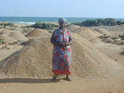 [Togo] Some coastal villagers have been forced to switch from fish processing to harvesting gravel.